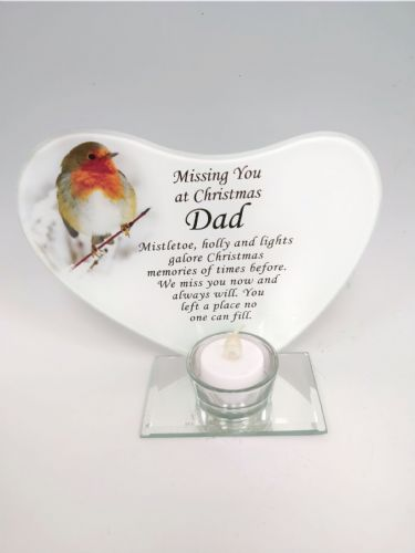 'Dad' robin glass plaque tea light holder.